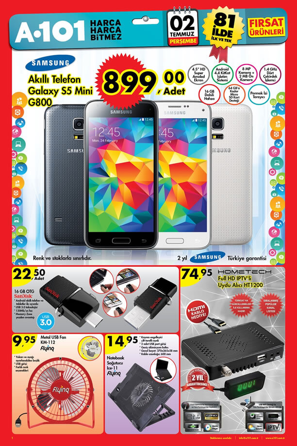 A101 2 Temmuz 2015 Aktüel Ürünler Katalogu - Samsung Galaxy S5 Mini
