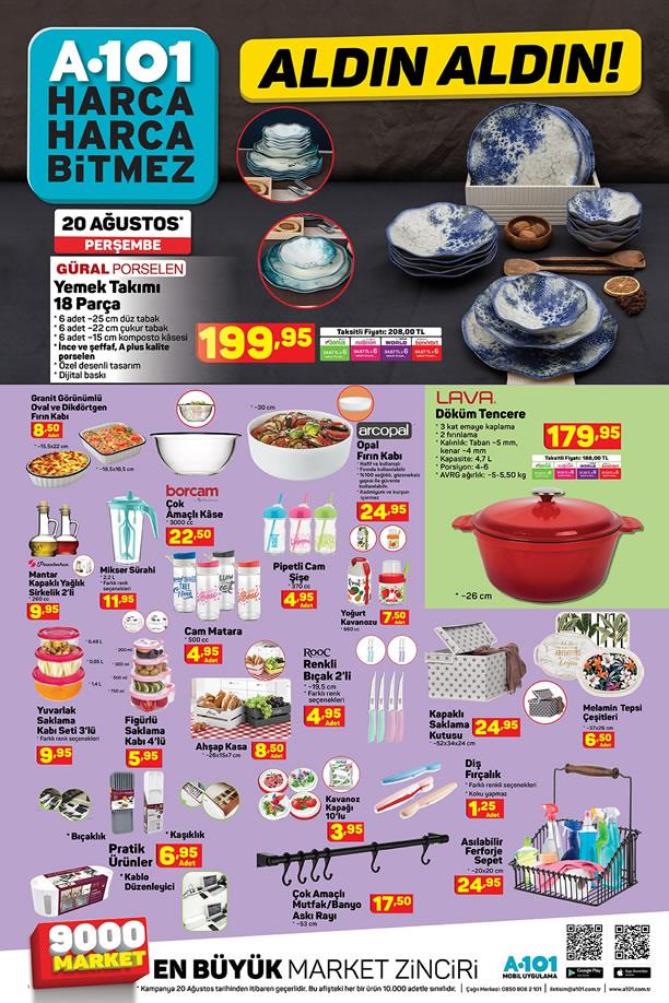 A101 20 Ağustos 2020 - Güral Porselen 18 Parça Yemek Takımı