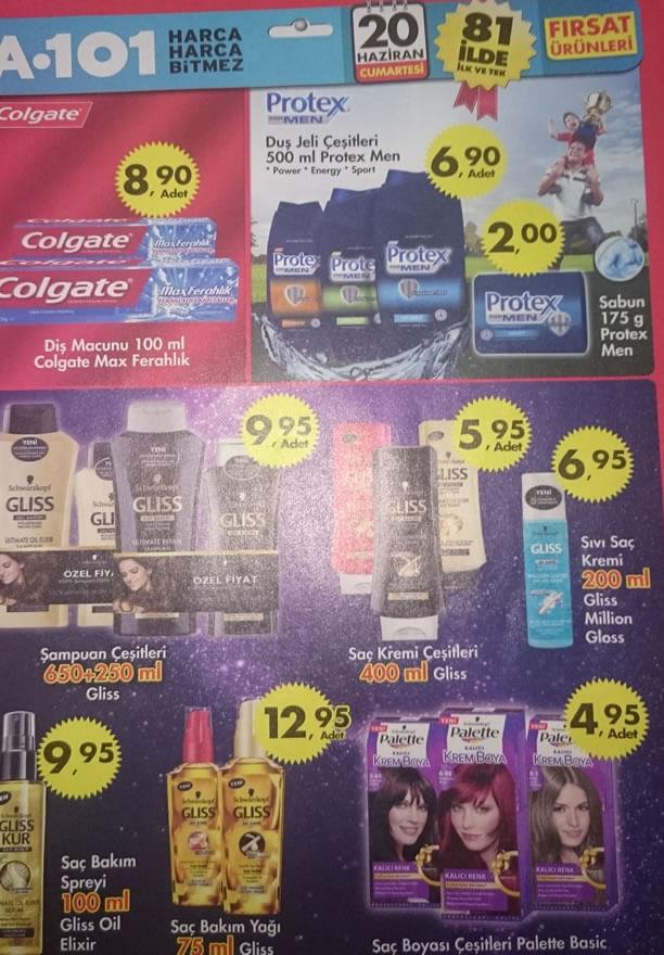 A101 20 Haziran 2015 Aktüel Ürünler  - Protex - Colgate - Gliss - Palette