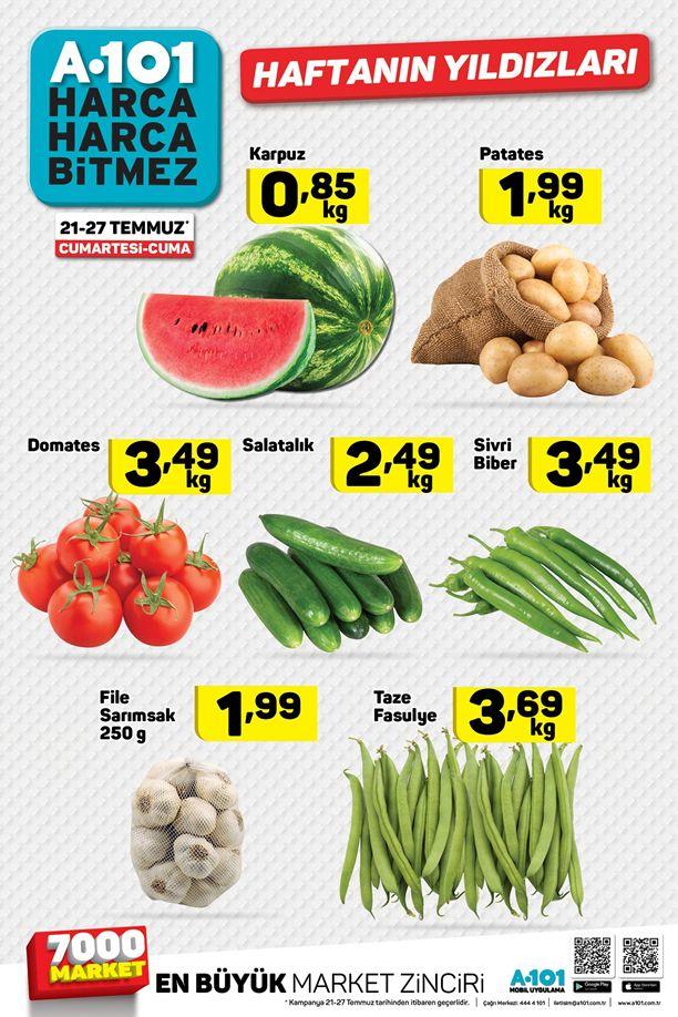 A101 21 - 27 Temmuz 2018 Meyve ve Sebze Fiyatları