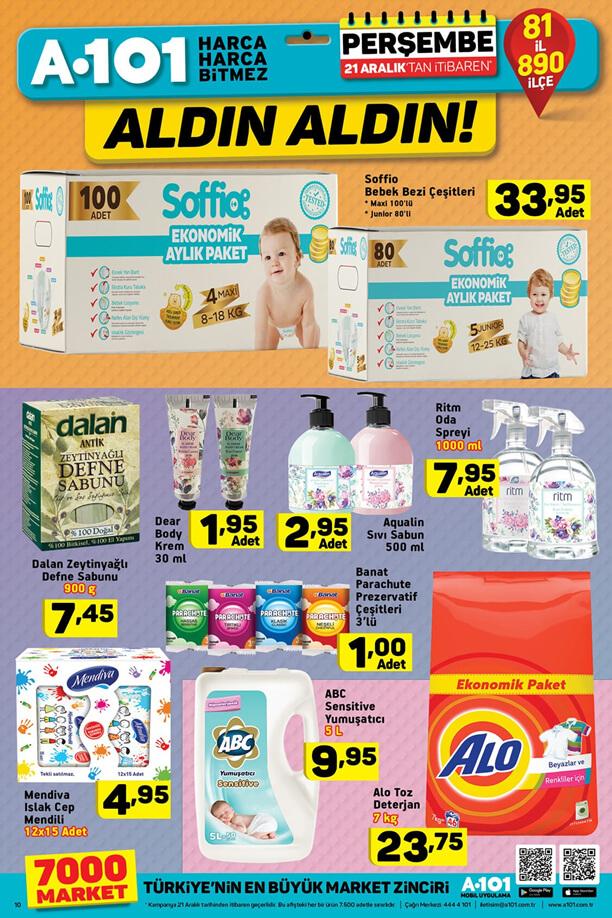 A101 21 Aralık 2017 Fırsat Ürünleri Katalogu - Soffio Bebek Bezi Çeşitleri