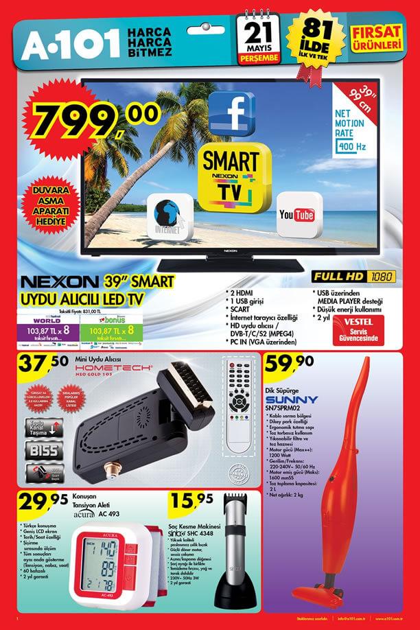 A101 21 Mayıs 2015 Aktüel Ürünler - Nexon Smart Uydu Alıcılı Led Tv