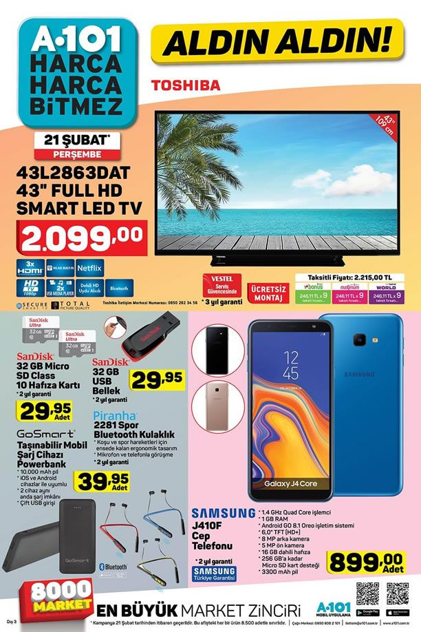A101 21 Şubat 2019 Aktüel Kataloğu - Samsung J410F Cep Telefonu