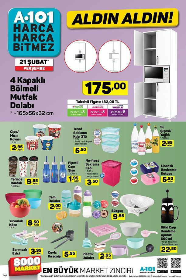 A101 21 Şubat 2019 Fırsatları - 4 Kapaklı Bölmeli Mutfak Dolabı