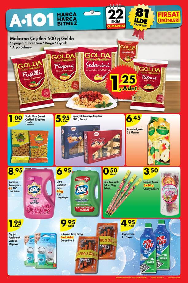 A101 22 Ekim 2016 Aktüel Ürünler Katalogu - Golda Makarna
