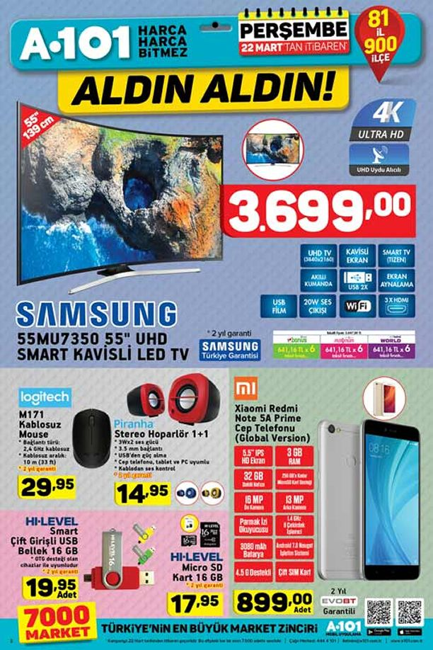 A101 22 Mart 2018 Katalogu - Samsung UHD Smart Kavisli Led Tv