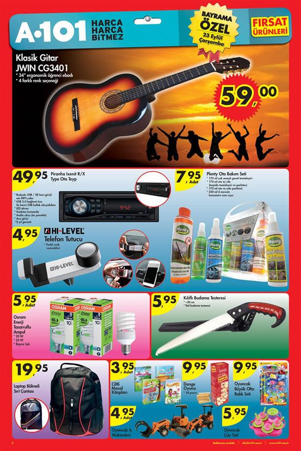 A101 23 Eylül 2015 Aktüel Ürünler Katalogu - Gitar - Oto Teyp