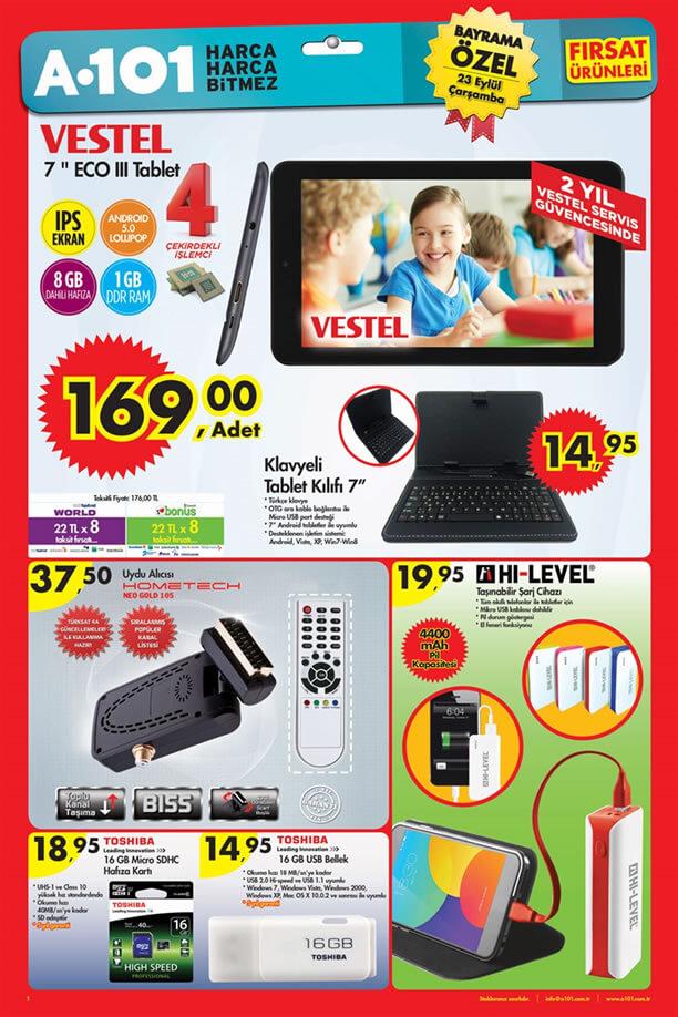 A101 23 Eylül 2015 Aktüel Ürünler Katalogu - Vestel ECO III Tablet