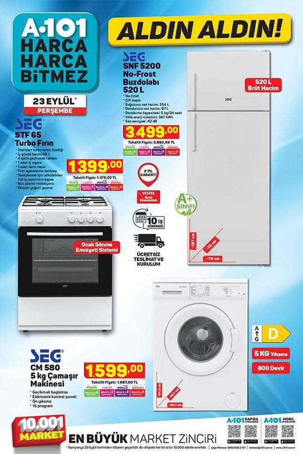 A101 23 Eylül 2021 Aktüel Kataloğu - SEG Çamaşır Makinesi