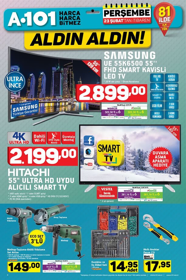 A101 23 Şubat 2017 Katalogu - Samsung Kavisli Led Tv