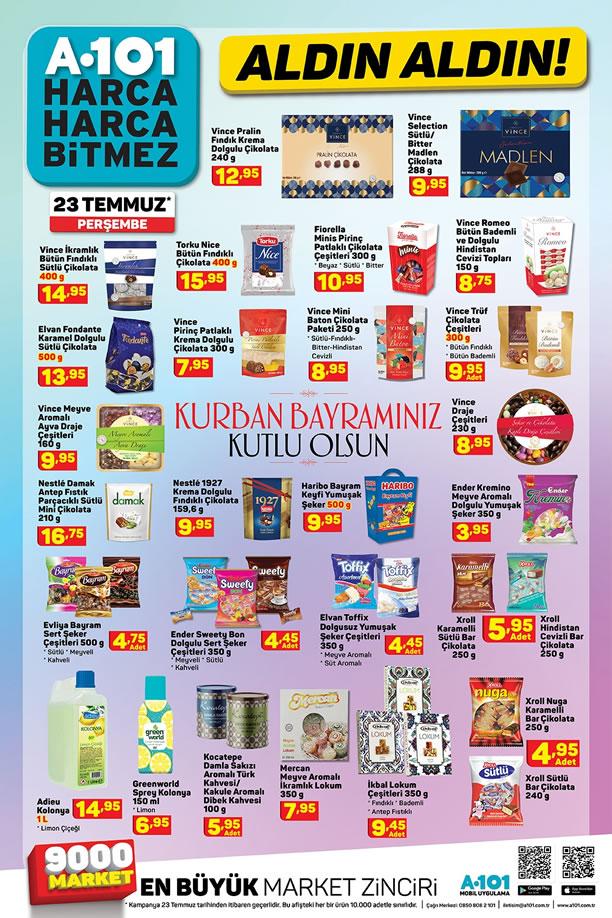 A101 23 Temmuz 2020 Bayram Şekeri ve Bayram Çikolataları