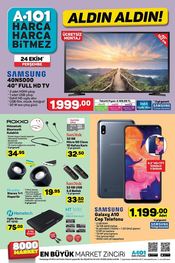 A101 24 Ekim 2019 Aktüel Kataloğu - Samsung Full HD Tv