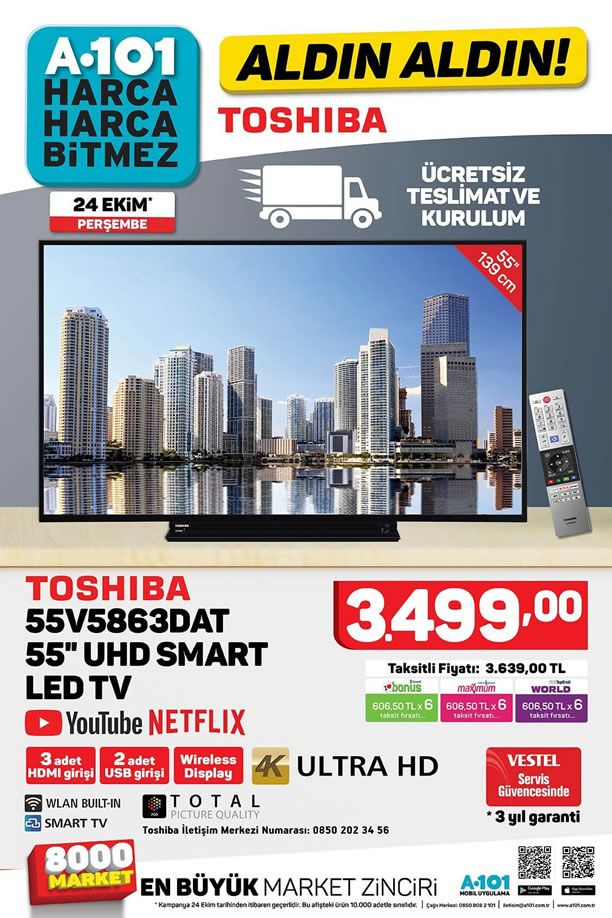 A101 24 Ekim 2019 Kataloğu - Toshiba UHD Smart Led Tv