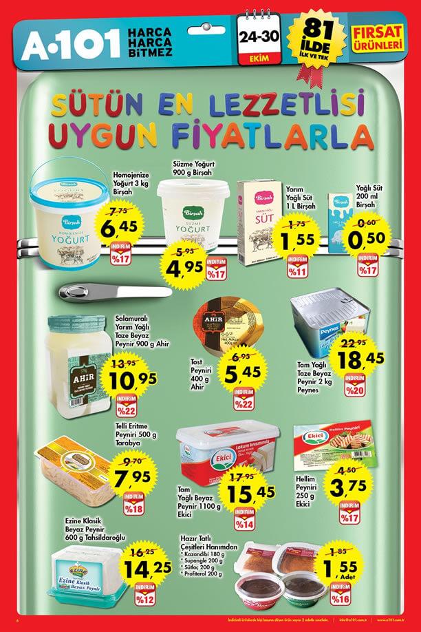 A101 24 Ekim - 30 Ekim 2016 Katalogu - Süt Ürünleri