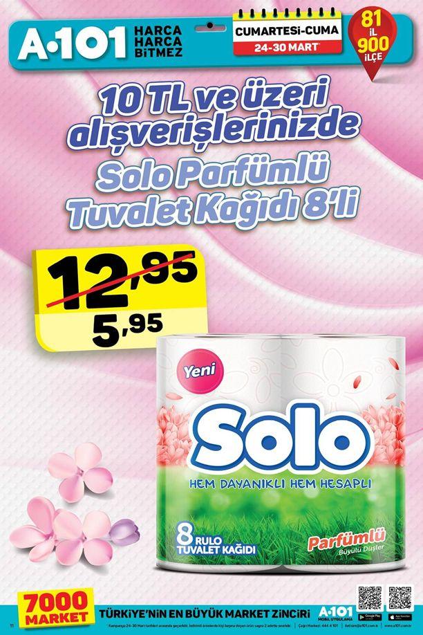 A101 24 Mart 2018 Hafta Sonu - Solo Parfümlü Tuvalet Kağıdı