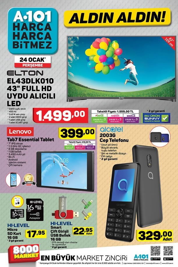 A101 24 Ocak 2019 Kataloğu - Lenovo Tab7 Essential Tablet