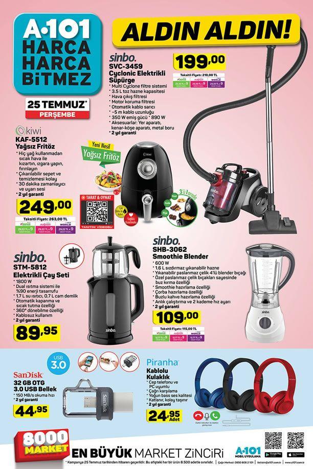 A101 25 Temmuz 2019 Aldın Aldın Kataloğu - Sinbo Elektrikli Çay Seti