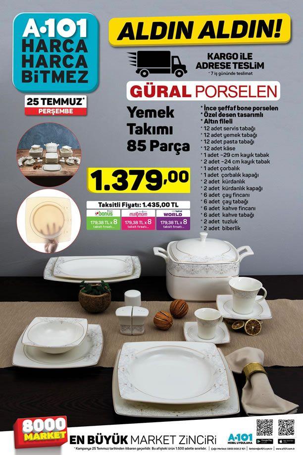 A101 25 Temmuz 2019 - Güral Porselen 85 Parça Yemek Takımı