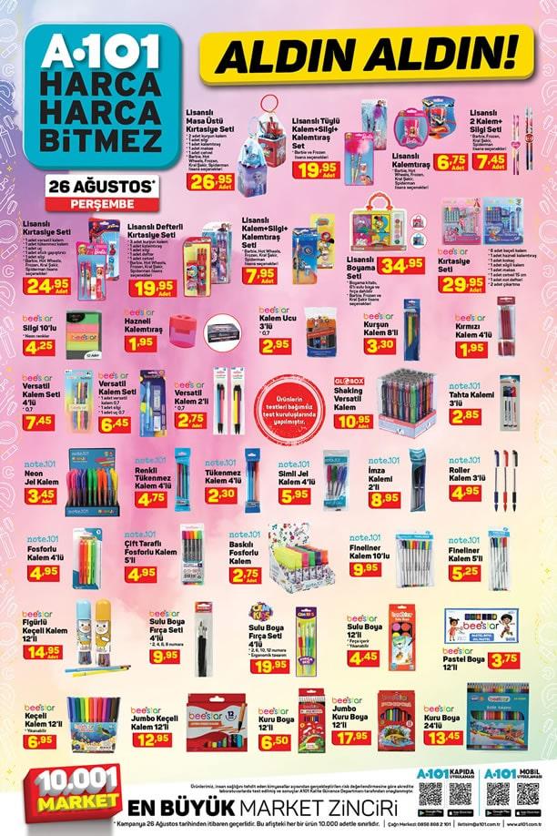 A101 26 Ağustos 2021 Kırtasiye Ürünleri Kataloğu