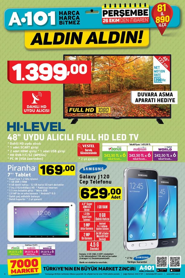 A101 26 Ekim 2017 Aktüel - Samsung Galaxy J120 Cep Telefonu