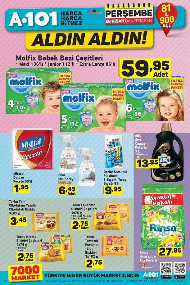 A101 26 Nisan 2018 Fırsat Ürünleri Kataloğu - Molfix Bebek Bezi