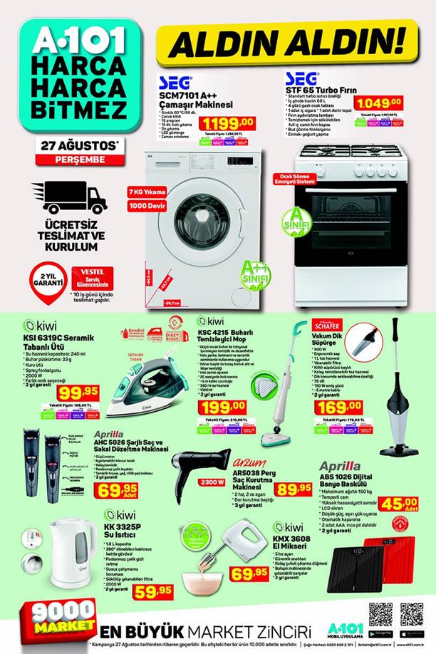 A101 27 Ağustos 2020 Kataloğu - SEG Çamaşır Makinesi