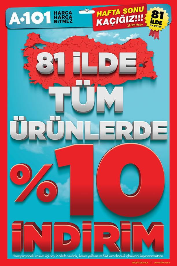 A101 28-29 Mayıs 2016 Hafta Sonu Kaçığız - %10 İndirim Kampanyası