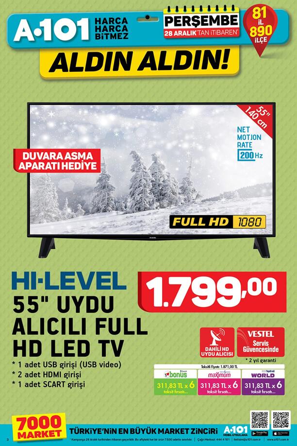 A101 28 Aralık 2017 Aktüel Katalogu - HI-LEVEL Uydu Alıcılı Full HD Led Tv