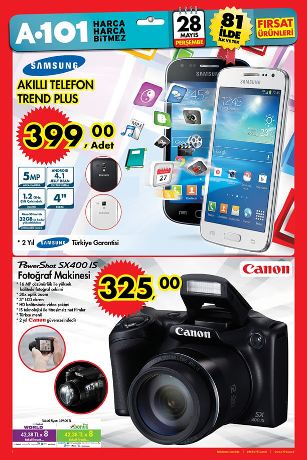 A101 28 Mayıs 2015 Fırsat Ürünleri Katalogu - Samsung Trend Plus