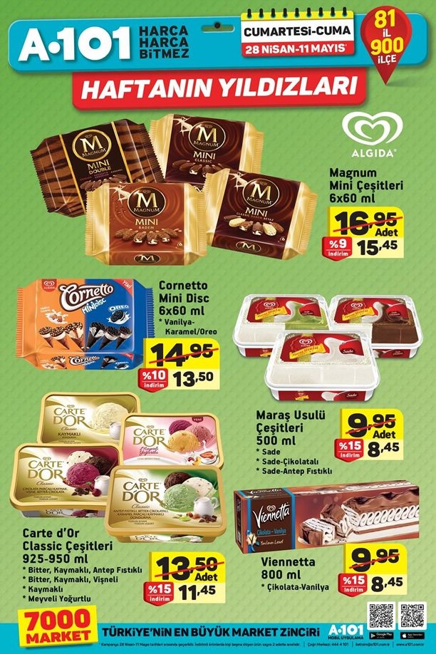 A101 28 Nisan - 11 Mayıs 2018 Kataloğu - Dondurma Fiyatları
