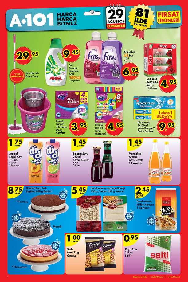 A101 29 Ağustos 2015 Fırsat Ürünleri - Ariel - Parex Tinny
