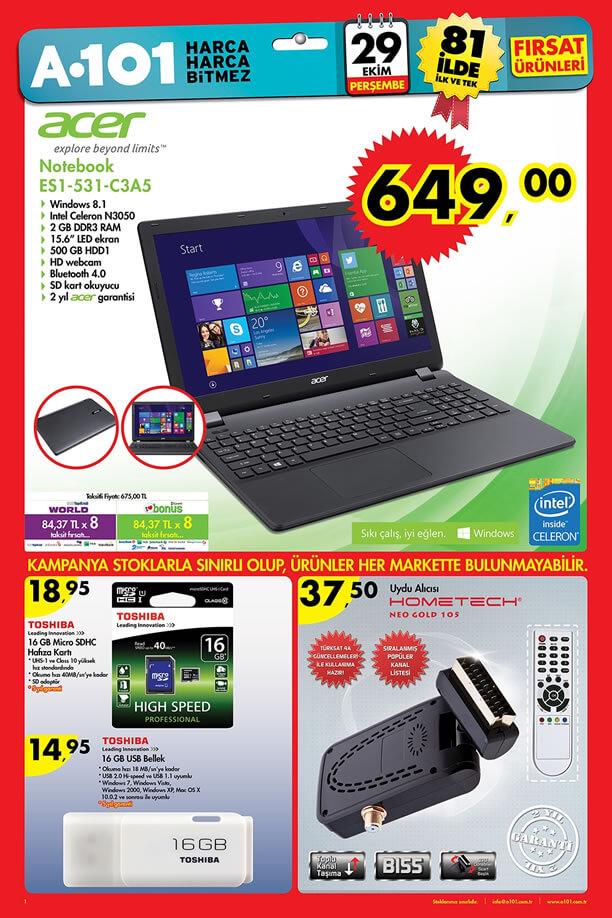 A101 29 Ekim 2015 Aktüel Ürünler Katalogu - Acer ES1-531-C3A5