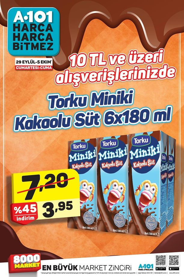 A101 29 Eylül - 5 Ekim 2018 İndirim Broşürü - Torku Miniki Kakaolu Süt