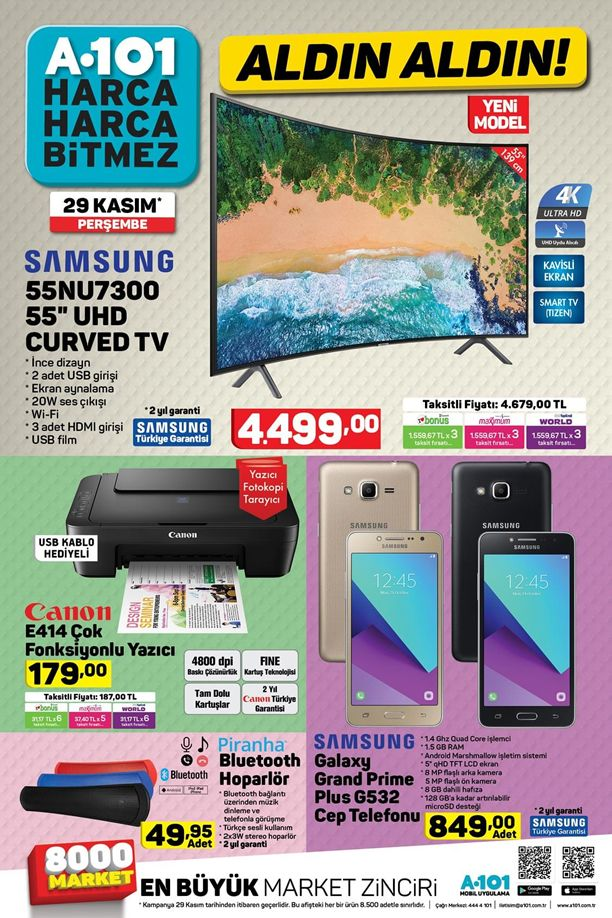 A101 29 Kasım 2018 Kataloğu - Samsung UHD Curved Tv