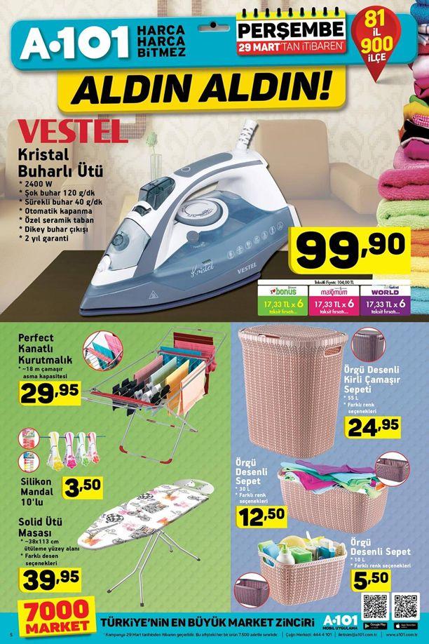 A101 29 Mart - 4 Nisan 2018 Kataloğu - Vestel Kristal Buharlı Ütü