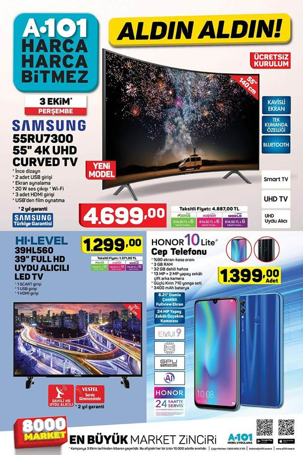 A101 3 Ekim 2019 Aktüel Kataloğu - Honor 10 Lite Cep Telefonu