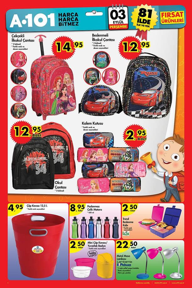 A101 3 Eylül 2015 Aktüel Ürünler Katalogu - Okul Çantası