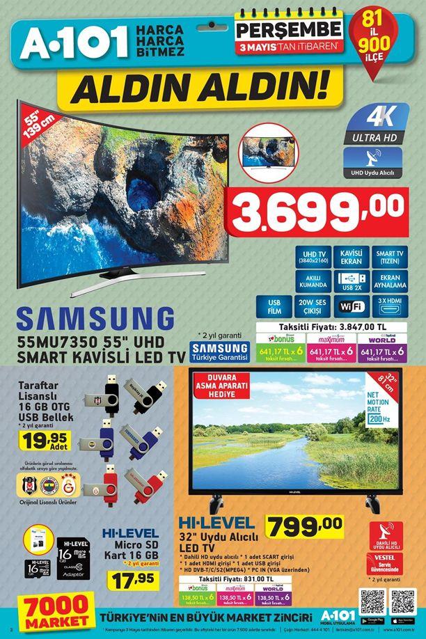 A101 3 Mayıs 2018 Kataloğu - Samsung UHD Smart Kavisli Led Tv
