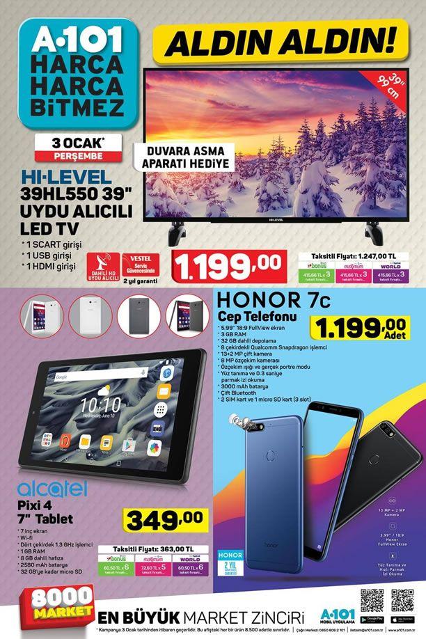 A101 3 Ocak 2019 Aktüel Ürün Kataloğu - Alcatel Pixi 4 Tablet