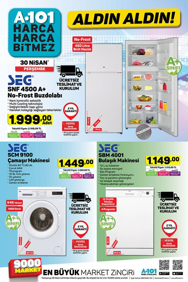 A101 30 Nisan 2020 Aldın Aldın Kataloğu - SEG Çamaşır Makinesi