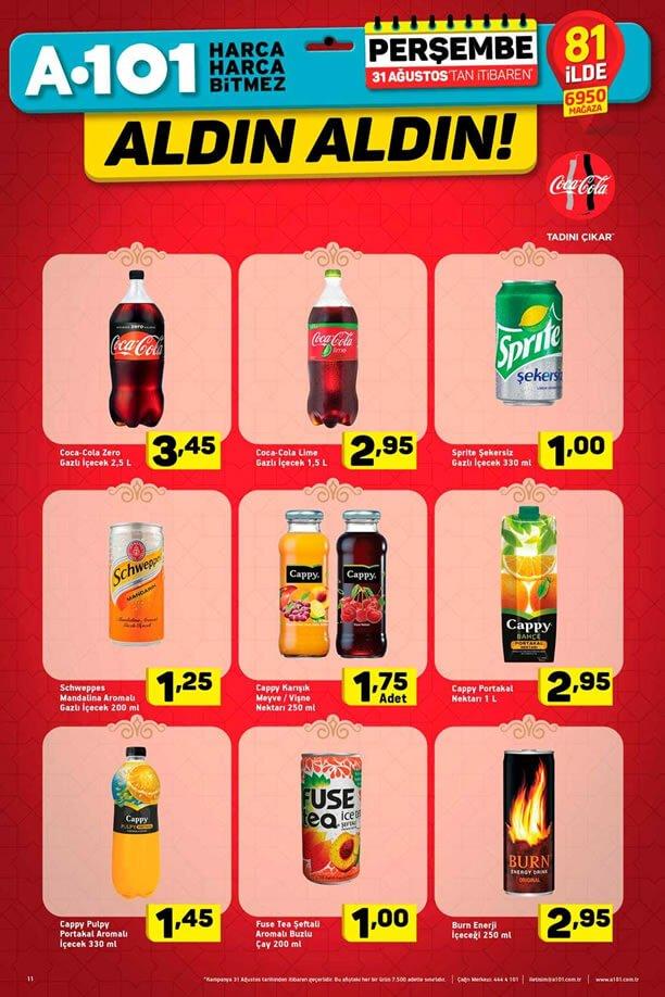 A101 31 Ağustos - Meşrubat Fiyatları