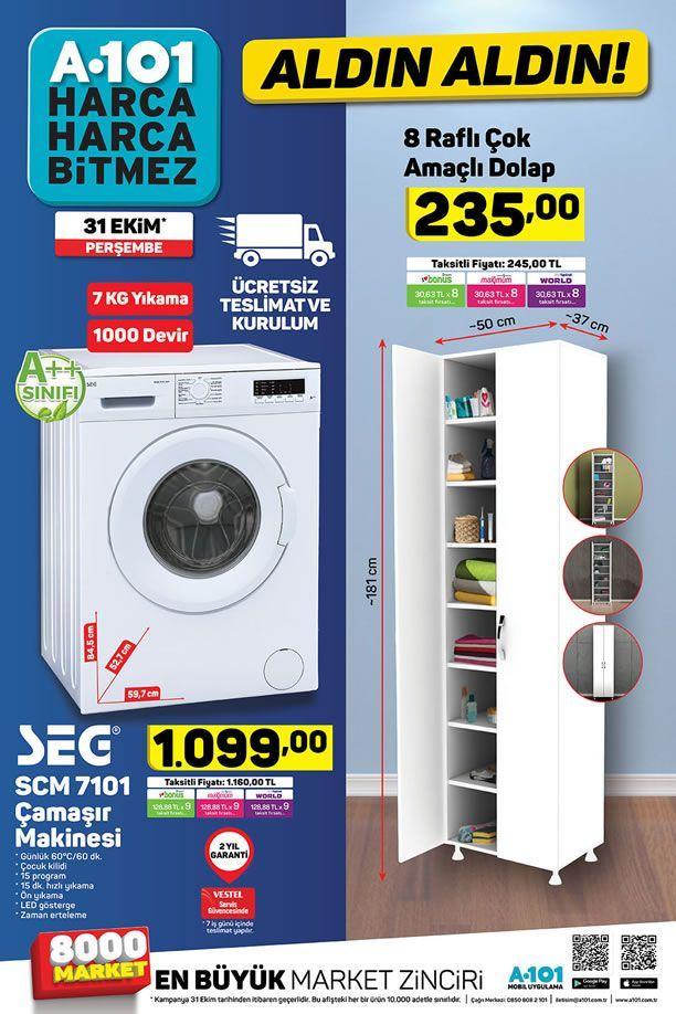A101 31 Ekim 2019 Aldın Aldın Kataloğu - SEG Çamaşır Makinesi