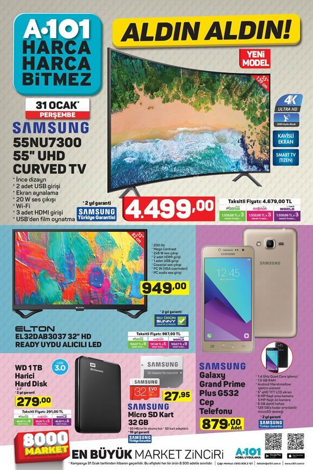 A101 31 Ocak 2019 Aktüel Kataloğu - Samsung UHD Curved Tv