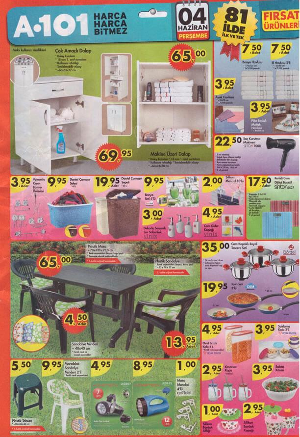 A101 4 Haziran 2015 Aktüel Ürünler Kataloğu - Plastik Masa - Dolap