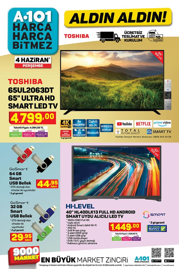 A101 4 Haziran 2020 Kataloğu - Toshiba 65UL2063DT Smart Led Tv