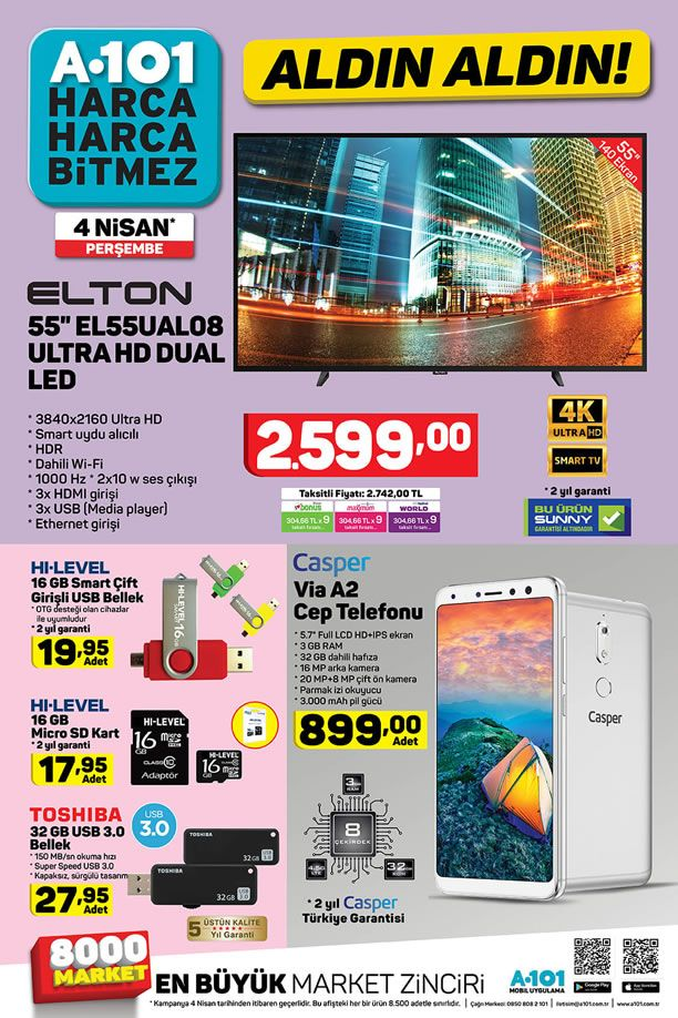 A101 4 Nisan 2019 Kataloğu - Casper Via A2 Cep Telefonu