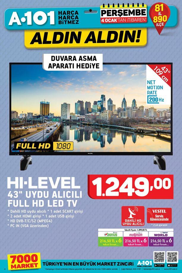 A101 4 Ocak 2018 Aktüel Katalogu - HI-LEVEL Uydu Alıcılı Full HD Led Tv