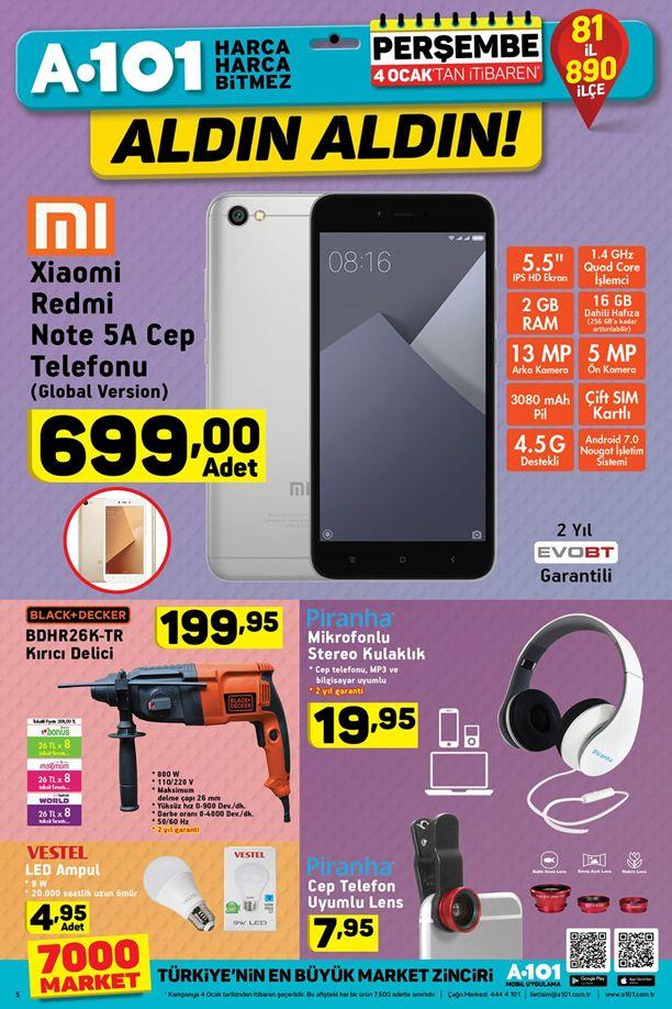 A101 4 Ocak 2018 Katalogu - Xiaomi Redmi Note 5A Cep Telefonu