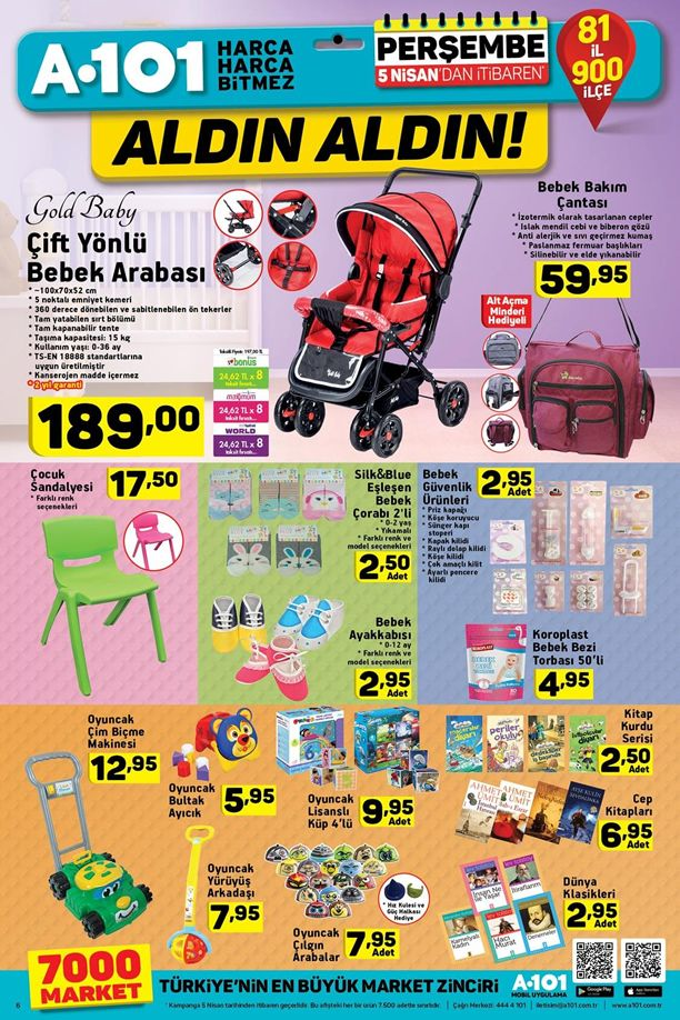 A101 5 - 11 Nisan 2018 Kataloğu - Çift Yönlü Bebek Arabası
