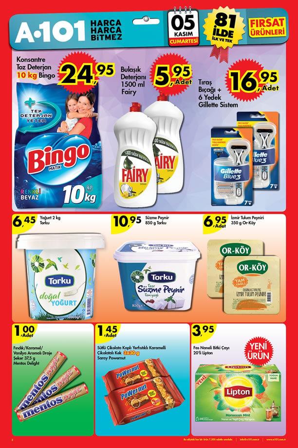 A101 5 Kasım 2016 Cumartesi Fırsatları Katalogu - Bingo Toz Deterjan